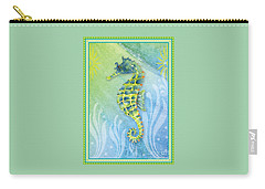 Seahorse Blue Green Carry-all Pouch by Amy Kirkpatrick