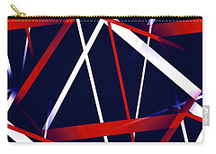 Seamless Red And White Stripes On A Blue Background Carry-all Pouch