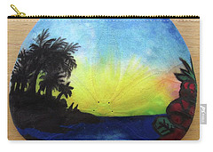 Seascape On A Sand Dollar Carry-all Pouch by Mary Ellen Frazee