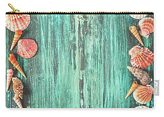 Seashell And Starfish Frame On Wooden Background Carry-all Pouch