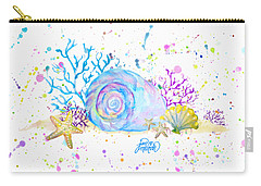 Seashells And Coral Watercolor Carry-all Pouch