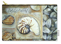 Carry-all Pouch featuring the painting Seashells by Chris Hobel