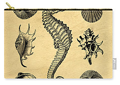 Carry-all Pouch featuring the digital art Seashells Vintage by Edward Fielding