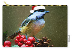 Seasons Greetings Chickadee Carry-all Pouch
