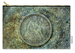 Carry-all Pouch featuring the digital art Seated Libery Dime Coin Obverse by Randy Steele