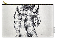 Seated Striped Nude Carry-all Pouch by Ron Bissett