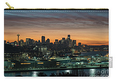 Seattle And Pier 90 Sunrise Carry-all Pouch by Mike Reid