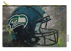 Seattle Seahawks Football Helmet Wall Art Carry-all Pouch by Gray Artus