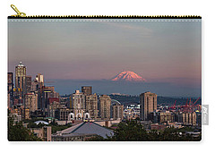 Carry-all Pouch featuring the photograph Seattle Skyline And Mt. Rainier Panoramic Hd by Adam Romanowicz