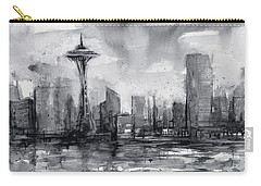 Seattle Skyline Painting Watercolor  Carry-all Pouch by Olga Shvartsur