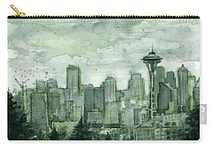 Seattle Skyline Watercolor Space Needle Carry-all Pouch by Olga Shvartsur