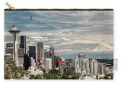 Seattle Space Needle With Mt. Rainier Carry-all Pouch by Tony Locke