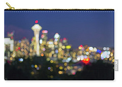 Seattle Washington City Skyline At Dusk Out Of Focus Bokeh Carry-all Pouch