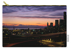 Seattle, Washington Skyline At Sunset Carry-all Pouch by Panoramic Images