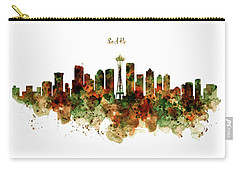 Carry-all Pouch featuring the mixed media Seattle Watercolor Skyline Poster by Marian Voicu