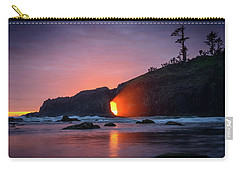 Carry-all Pouch featuring the photograph Second Beach Light Shaft by Dan Mihai