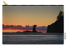 Carry-all Pouch featuring the photograph Second Beach Silhouettes by Dan Mihai