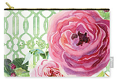 Carry-all Pouch featuring the painting Secret Garden 3 - Pink English Roses With Woodsy Fern, Wild Berries, Hops And Trellis by Audrey Jeanne Roberts