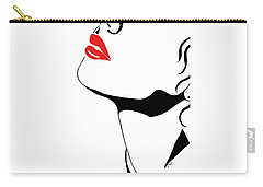 Carry-all Pouch featuring the painting Seduction With Red Lips - Sharon Cummings by Sharon Cummings