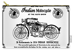Carry-all Pouch featuring the mixed media See New 1914 Indian Motocycle At The Auto Show by Daniel Hagerman