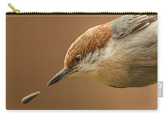 Carry-all Pouch featuring the photograph Seed Evades Nuthatch by Jim Moore