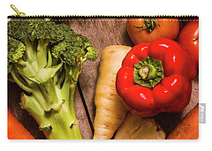 Selection Of Fresh Vegetables On A Rustic Table Carry-all Pouch by Jorgo Photography - Wall Art Gallery