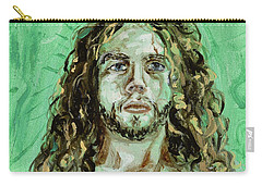 Carry-all Pouch featuring the painting Self Portrait -with Emerald Green And Mummy Brown- by Ryan Demaree
