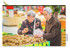 Senior Man And Woman Shopping Fruit Carry-all Pouch