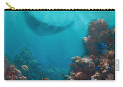 Serenity - Hawaiian Underwater Reef And Manta Ray Carry-all Pouch by Karen Whitworth