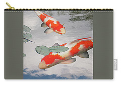 Serenity - Red And White Koi Carry-all Pouch by Gill Billington