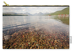 Carry-all Pouch featuring the photograph Setting Sun On Lake Mcdonald by Margaret Pitcher