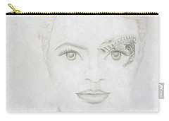 Carry-all Pouch featuring the drawing Seven by Kim Sy Ok