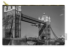 Carry-all Pouch featuring the photograph Seven Seconds - The Tower Bridge Hawker Hunter Incident Bw Versio by Gary Eason