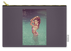 Sexy Woman In Bikini In The Water And Retro Look Image Finish Carry-all Pouch