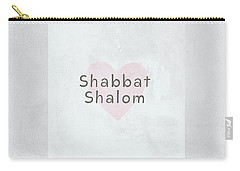 Carry-all Pouch featuring the mixed media Shabbat Shalom Soft Heart- Art By Linda Woods by Linda Woods