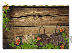 Shabby Chic Flowers In Rustic Basket Carry-all Pouch
