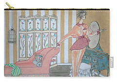 Shabby Chic -- Art Deco Interior W/ Fashion Figure Carry-all Pouch