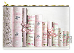 Carry-all Pouch featuring the photograph Shabby Chic Pink Books Collection - Paris Pink Books Art Prints Home Decor by Kathy Fornal