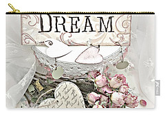 Carry-all Pouch featuring the photograph Shabby Chic Romantic Dream Valentine Roses - Romantic Dreamy Roses Valentine Hearts by Kathy Fornal