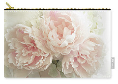 Carry-all Pouch featuring the photograph Shabby Chic Romantic Pastel Pink Peonies Floral Art - Pastel Peonies Home Decor by Kathy Fornal