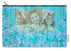 Shabby Chic Vintage Little Girls And Roses On Wood Carry-all Pouch