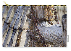 Carry-all Pouch featuring the photograph Shaggy Fence Post by Phyllis Denton