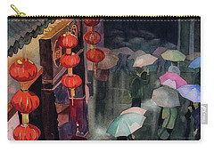 Carry-all Pouch featuring the painting Shanghai Shoppers by Kris Parins
