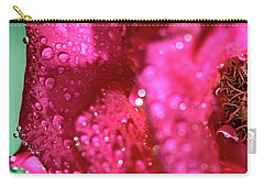 Carry-all Pouch featuring the photograph Sharp Wet Rose by T Brian Jones