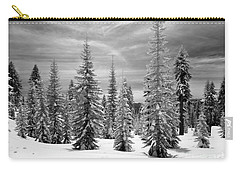Carry-all Pouch featuring the photograph Shasta Snowtrees by Martin Konopacki