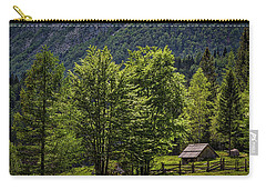 Carry-all Pouch featuring the photograph Shed In The Slovenian Alps by Stuart Litoff
