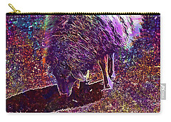 Carry-all Pouch featuring the digital art Sheep Animal Animals Wool Meadow  by PixBreak Art