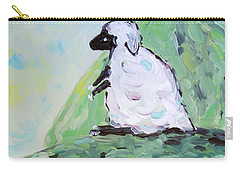 Carry-all Pouch featuring the painting Sheep On A Hill by Maria Langgle