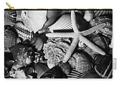Carry-all Pouch featuring the photograph Shells And Starfish In Black And White by Angie Tirado