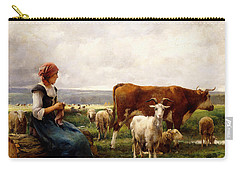 Shepherdess With Cows And Goats Carry-all Pouch by Julien Dupre